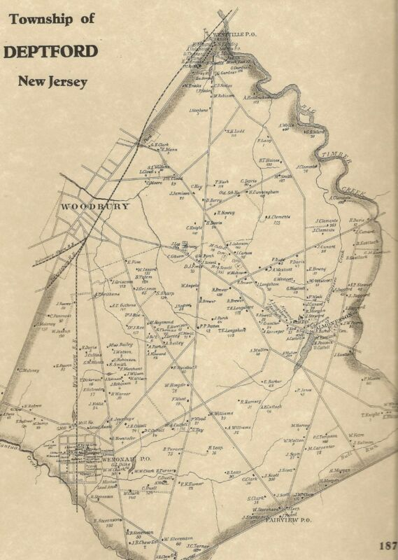 Deptford Woodbury Red Bank Wenonah Oak Valley NJ 1876 Maps with Homeowners Shown