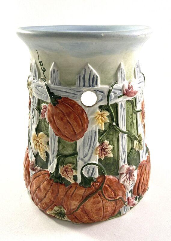 Yankee Candle Wax Tart Burner Warmer Pumpkins On A Fence Fall Tealight Ceramic