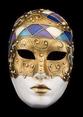 Mask Venice face volto purple blue golden paper mash V53-1762