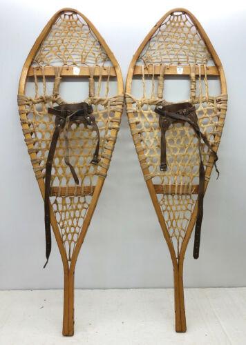 Antique Vintage 14 X 42 HURONS GROS-LOUIS Snowshoes Usable or Decor - Free Ship