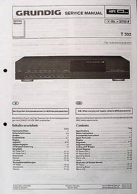 GRUNDIG Original Service-Anleitung für HiFi Tuner T 302