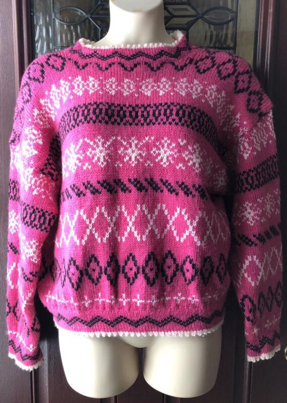 Vtg 1980s Chunky Knit HandKnit Pink Black White Ski Sweater Cottagecore Oversize