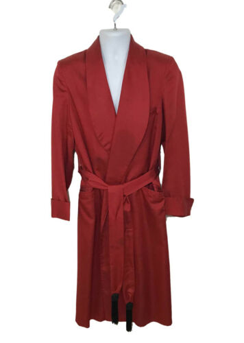 Vtg 50s State O Maine Mens Red Robe Smoking Jacket Heavy Rayon Satin Lining sz L