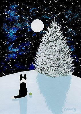 Border Collie Dog Winter Moon Christmas Tree Art Print Todd Young Falling Snow