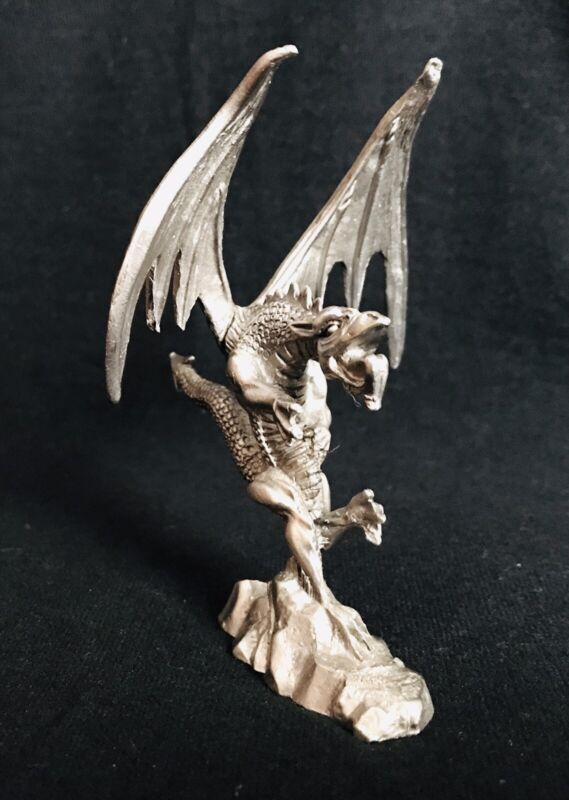 Pewter DRAGON Roaring Fantasy Mystical Silver Metal Statue Figure Figurine