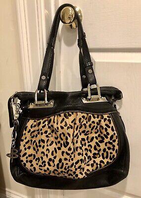 B. Makowsky large leather handbag black and leopard