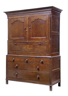 EARLY 19TH CENTURY AND LATER OAK CUPBOARD