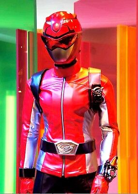 ers Power Rangers Beast Morphers Red Ranger Leather Jacket (Red Ranger Cosplay Kostüm)