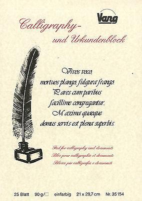 Calligraphie Urkundenpapier Urkunden Papier im Block 25 Blatt DIN A4 21x29,7 cm