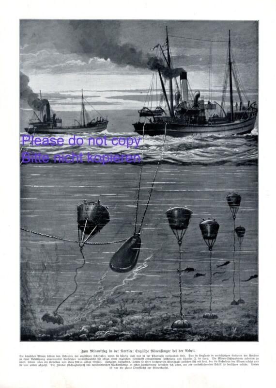English mines catcher XL 1914 German art print miner England Germany WW1 war +