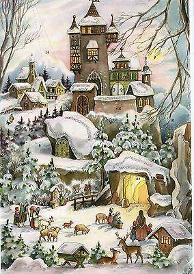 1 Sellmer Adventskalender mit Glimmer Winter,Schnee, Burg, Kinder,Tiere Nr.77