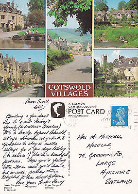 1992 MULTI VIEWS OF THE COTSWOLDS GLOUCESTERSHIRE COLOUR POSTCARD