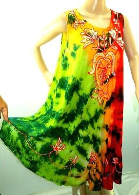 Riviera Sun Damen Plus One Free Größe Asym Boho Batik Pailletten Sommer Kleid