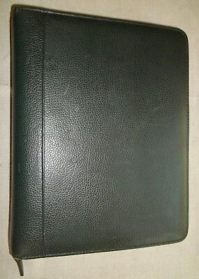 Franklin Quest Covey Classic Leather 7-ring Planner Zipper Organizer Green Usa