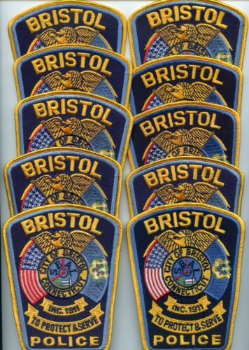 BRISTOL CONNECTICUT Patch Lot Trade Stock 10 Police Patches POLICE PATCH