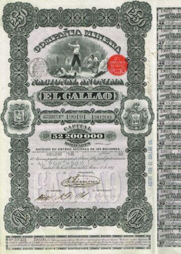 VENEZUELA EL CALLAO GOLD MINING COMPANY stock certificate 1887