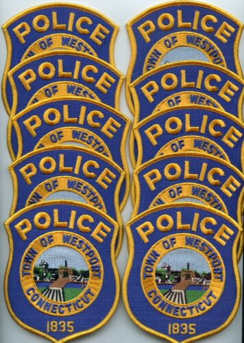WESTPORT CONNECTICUT Patch Lot Trade Stock 10 Police Patches POLICE PATCH