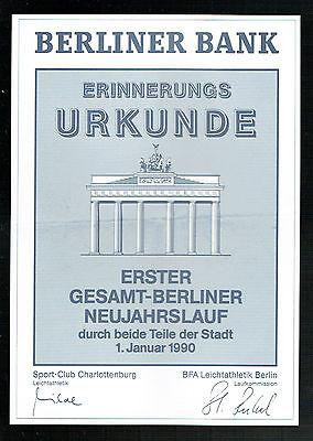 URKUNDE BERLIN: ERSTER GESAMT-BERLINER NEUJAHRSLAUF 1990