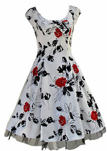 Classic-1950s-Rockabilly-Vtg-White-Floral-Tea-Dress-Party-Jive-Swing-New-8-18