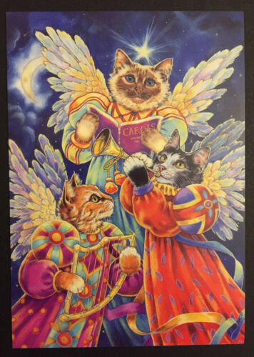 Cat Christmas Card ONE Single GORGEOUS Hark Herald Angels Sing Tabby Siamese