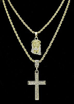 "14k Gold Plated 2 pc Jesus & Cross 20"" 24"" Rope Chain Set Mens Womens"