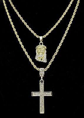 14k Gold Plated 2 pc Jesus & Cross 20