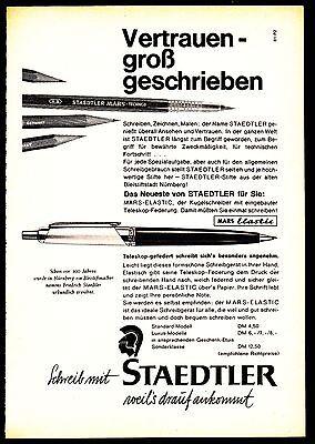 3w873/ Alte Reklame - von 1961 - Schreib mit STAEDTLER Mars-Elastic