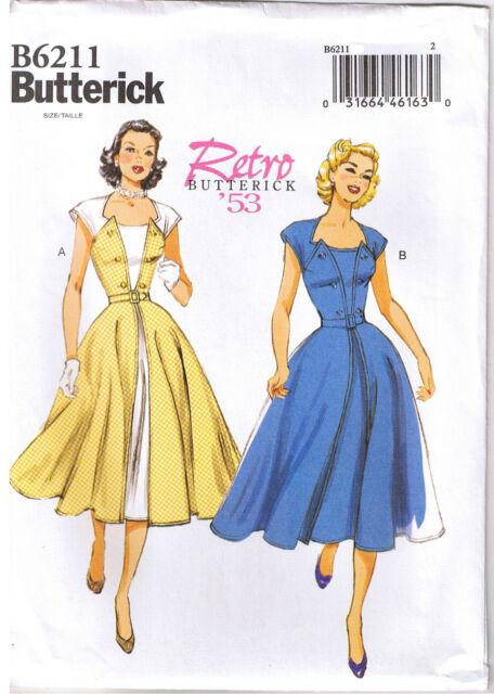 Vtg 50s Retro Rockabilly Pullover Wrap Dress Sew Pattern Butterick ...