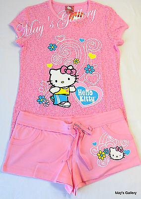 Hello Kitty Pajama Top & Pants Tank  Tee T shirt Shorts Sleep  wear  Set NWT  L