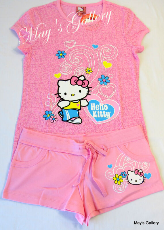 Hello Kitty Pajama Top   Pants Tank Tee T shirt Shorts Sleep wear Set NWT L 27c8b4863