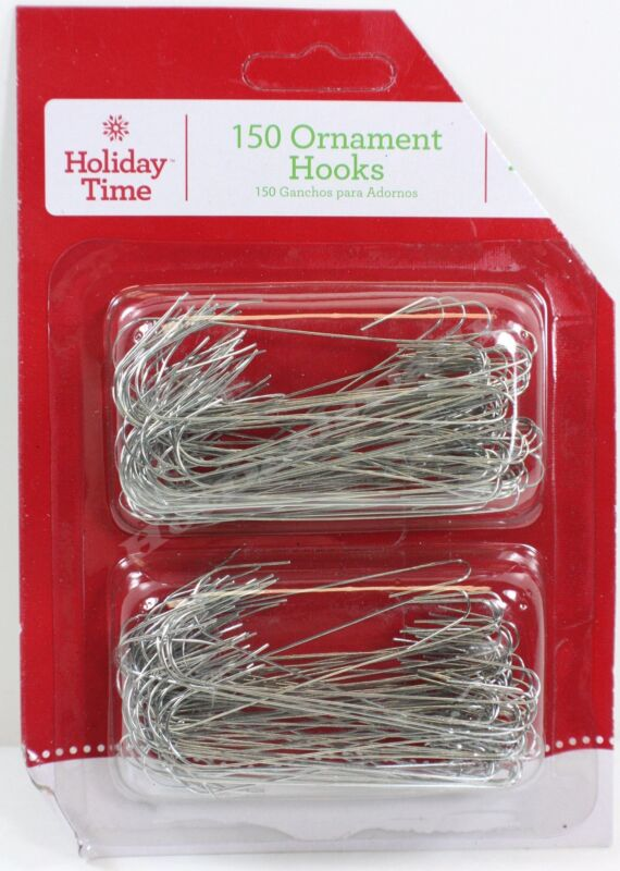 """450 SILVER WIRE ORNAMENT HOOKS APPROX 2-1/2"""" LOT OF 3 PACKS OF 150 EACH"""