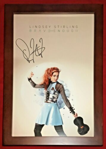 """Authentic Lindsey Stirling Signed Brave Enough Poster Framed Autograph 11"""" x 17"""""""