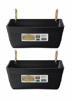 2 Pack Little Giant Fence Feeders With Clips 11-inch Black