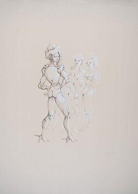 """Leonor FINI S/N Etching Nude """"Scène de théâtre"""" (Erotique) 1975"""