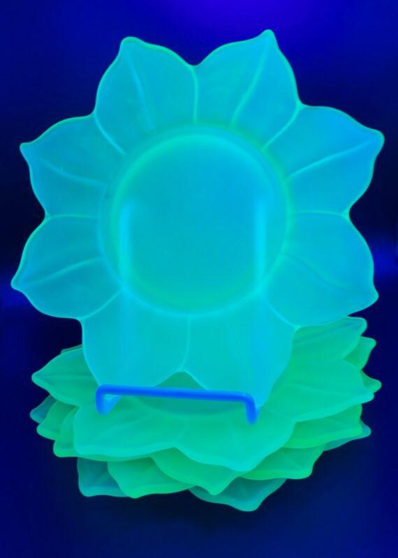Westmoreland Lotus Uranium Satin Glass Plate Set of 5 Glows