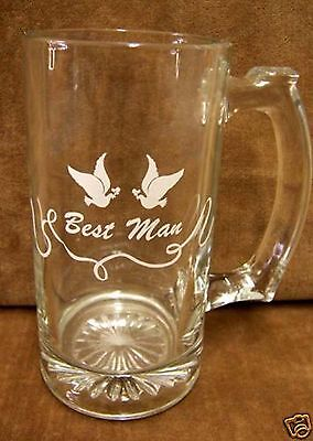 Beer Mug Best Man Wedding Gift Clear Glass 12 oz Dove & Ribbon