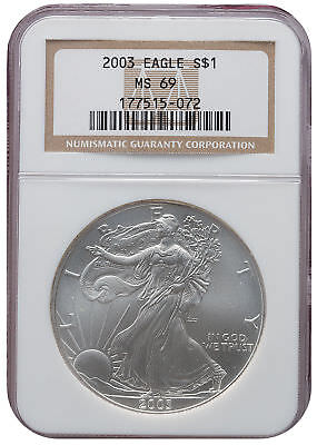 2003 MS69 1oz American Silver Eagle Brown Label NGC