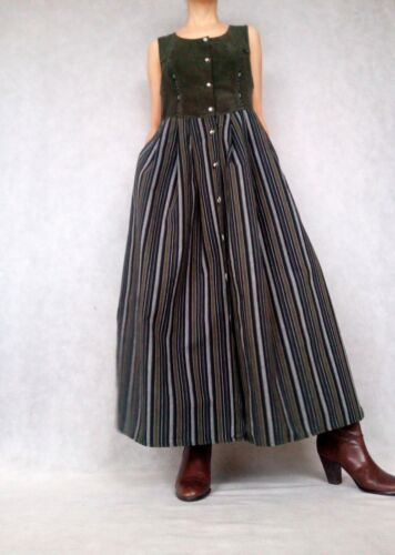 Vintage Dark Green Black Striped Handmade Sleeveless Dirndl Corset Dress, Medium