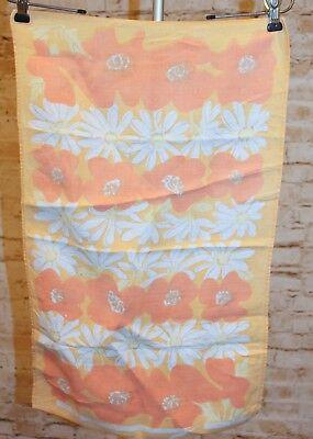 Vtg 70s Chris Bash Floral Flower Retro Orange Hand Print Kitchen Linen Tea Towel](Flower Handprint)