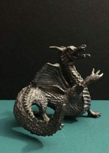 Pewter Metal Fantasy Young Winged Dragon Horns Spikes Miniature Art Figurine D&D