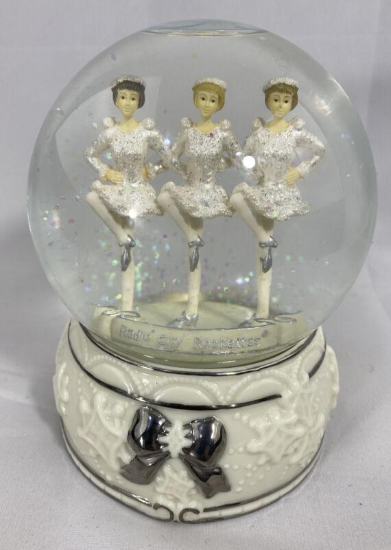 Radio City Rockettes Glitter Snow Dome Globe White Silver Ceramic