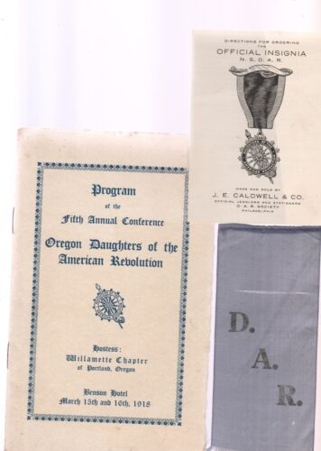 DAR CONVENTION PROGRAMS 1918 and 1921 PLUS NUMEROUS RELATED ITEMS