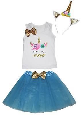 Halloween Kid 1st-8th Unicorn Birthday Shirt Peacock Blue Skirt Headband Costume - First Birthday Halloween Costumes
