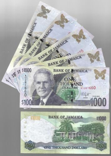 JAMAICA 1000 1,000 DOLLARS, 2018, CIRCULATED BANK NOTE