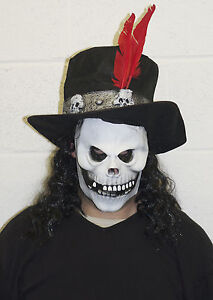 Voodoo Skull Halloween Latex Witch Doctor Mask With Hat Costume Fancy Dress