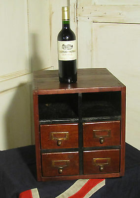 Oak Card Index Filing Cabinet and Quirky Wine Rack Side Table