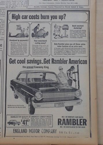 1964 newspaper ad for Rambler - American 440-H & skiers,High car costs burn you?