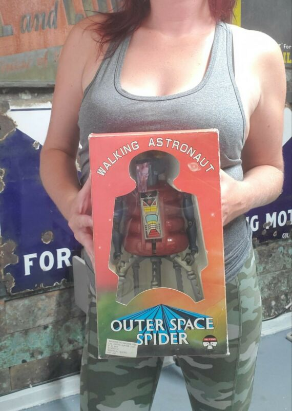 Vintage Walking Astronaut Outer Space Spider Robot Works with Box !