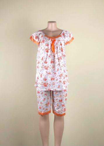 Women's Floral Lace Trim Ribbon 2 Piece Pajama Set in M, L, XL, 2X, Sleepwear