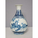 Chinese  Blue and White  Porcelain  Vase  With  Mark     M1504